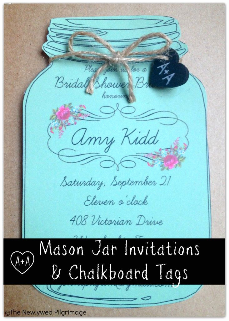 Diy Bridal Shower Invitation Templates Beautiful Mason Jar Invitations and Chalkboard Tagsbridal Shower