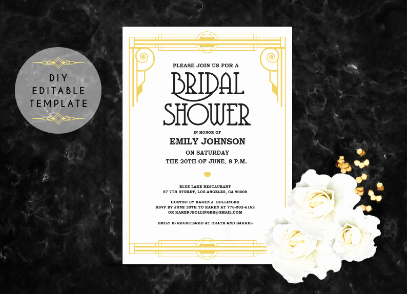 Diy Bridal Shower Invitation Templates Best Of Bridal Shower Invitation Template Diy Great Gatsby Bridal