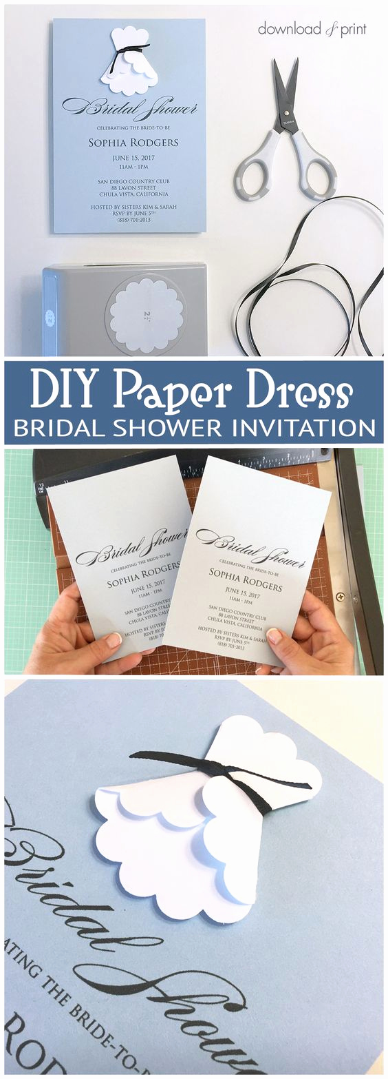 Diy Bridal Shower Invitation Templates Elegant Sweet and Simple Bridal Shower Invitation with A Diy Paper