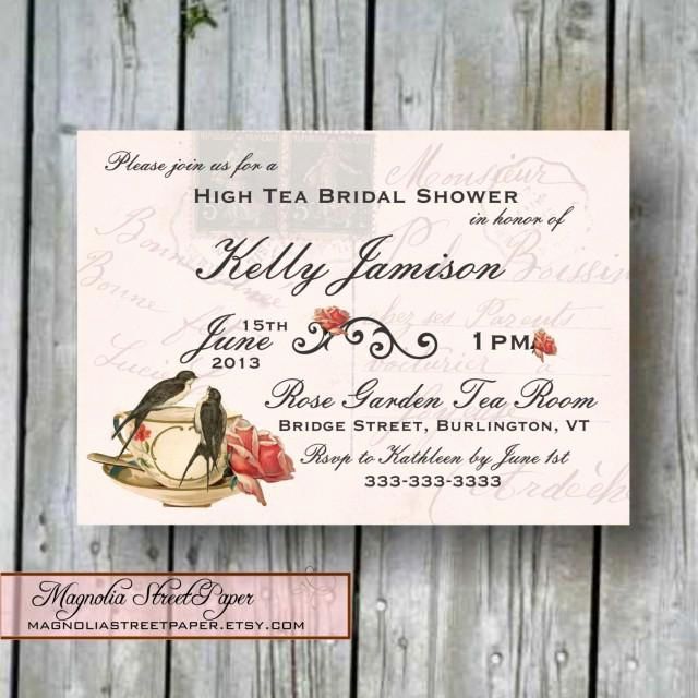 Diy Bridal Shower Invitation Templates Inspirational Custom Printable High Tea Bridal Shower Invitation