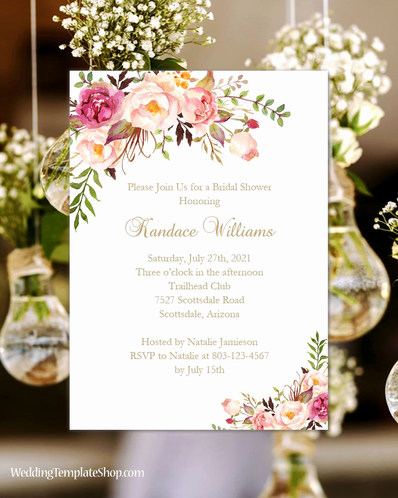 Diy Bridal Shower Invitation Templates Unique Bridal Shower Invitation Template Romantic Blossoms