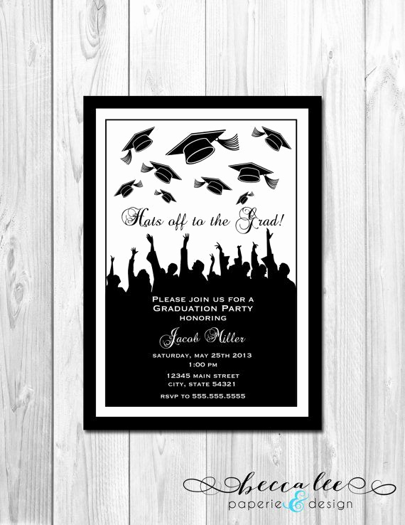 Diy Graduation Invitation Ideas New Graduation Party Invitation Grad Hats Diy by