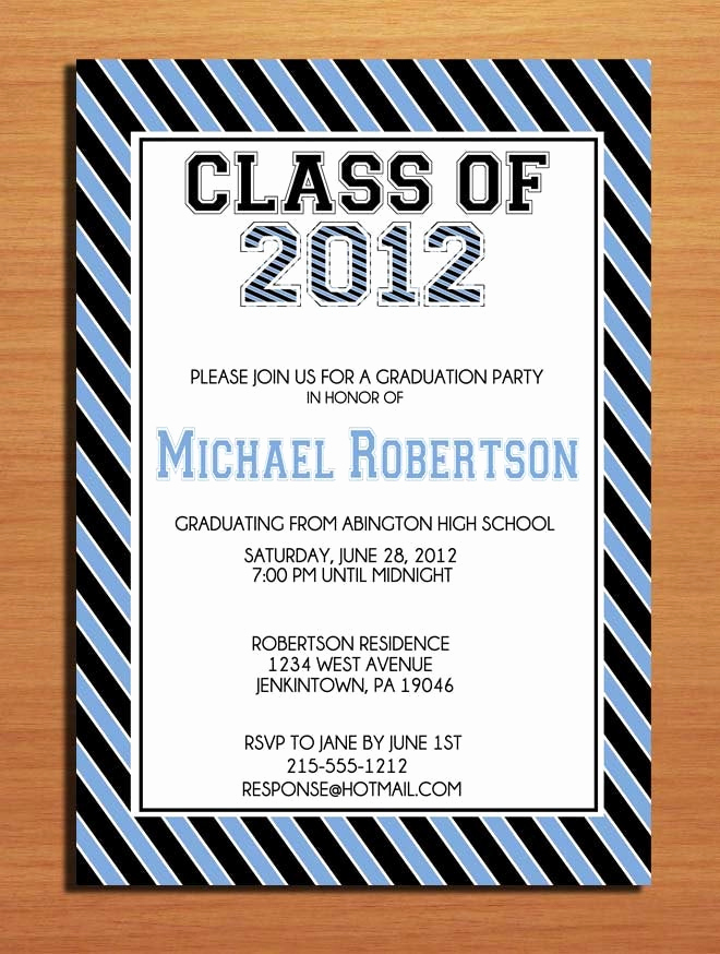 Diy Graduation Invitation Ideas Unique Collegeiate Stripes Graduation Party Invitation Cards