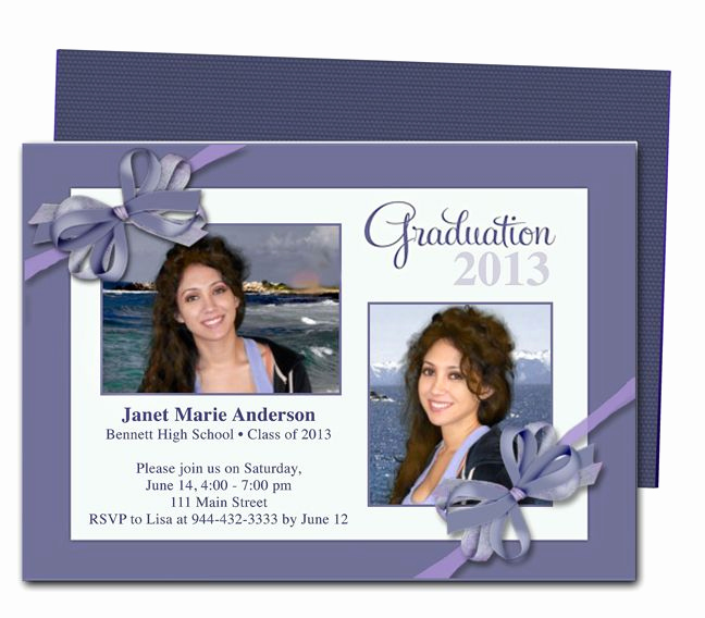 Diy Graduation Invitation Templates Free Inspirational Printable Diy Grad Announcements Shiloh Ribbon Bow