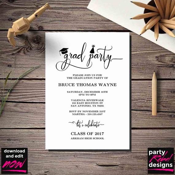 Diy Graduation Invitation Templates Free Inspirational Printable Graduation Party Invitation Template Grad Party