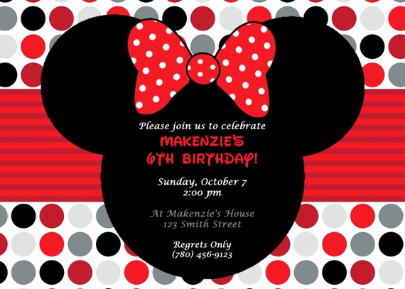 Diy Minnie Mouse Invitation Beautiful Diy Printable Minnie Mouse Birthday Party Invitation Red