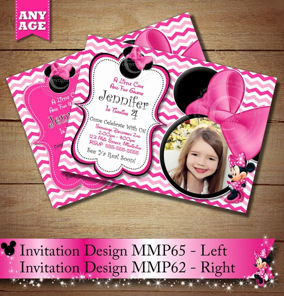 Diy Minnie Mouse Invitation Beautiful Pink Chevron Minnie Mouse Printable Birthday Invitation
