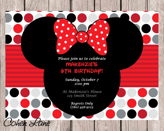Diy Minnie Mouse Invitation Fresh Diy Printable Minnie Mouse Birthday Party Invitation Red