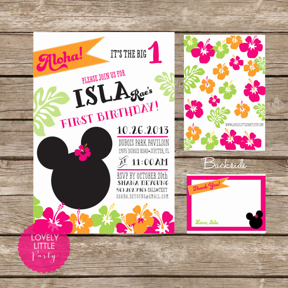 Diy Minnie Mouse Invitation Inspirational Diy Minnie Mouse Luau Invitation Kit Invite and Thank You