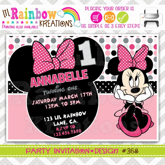 Diy Minnie Mouse Invitation Lovely 368 Diy Minnie Mouse 2 Party Invitation Thank You Card