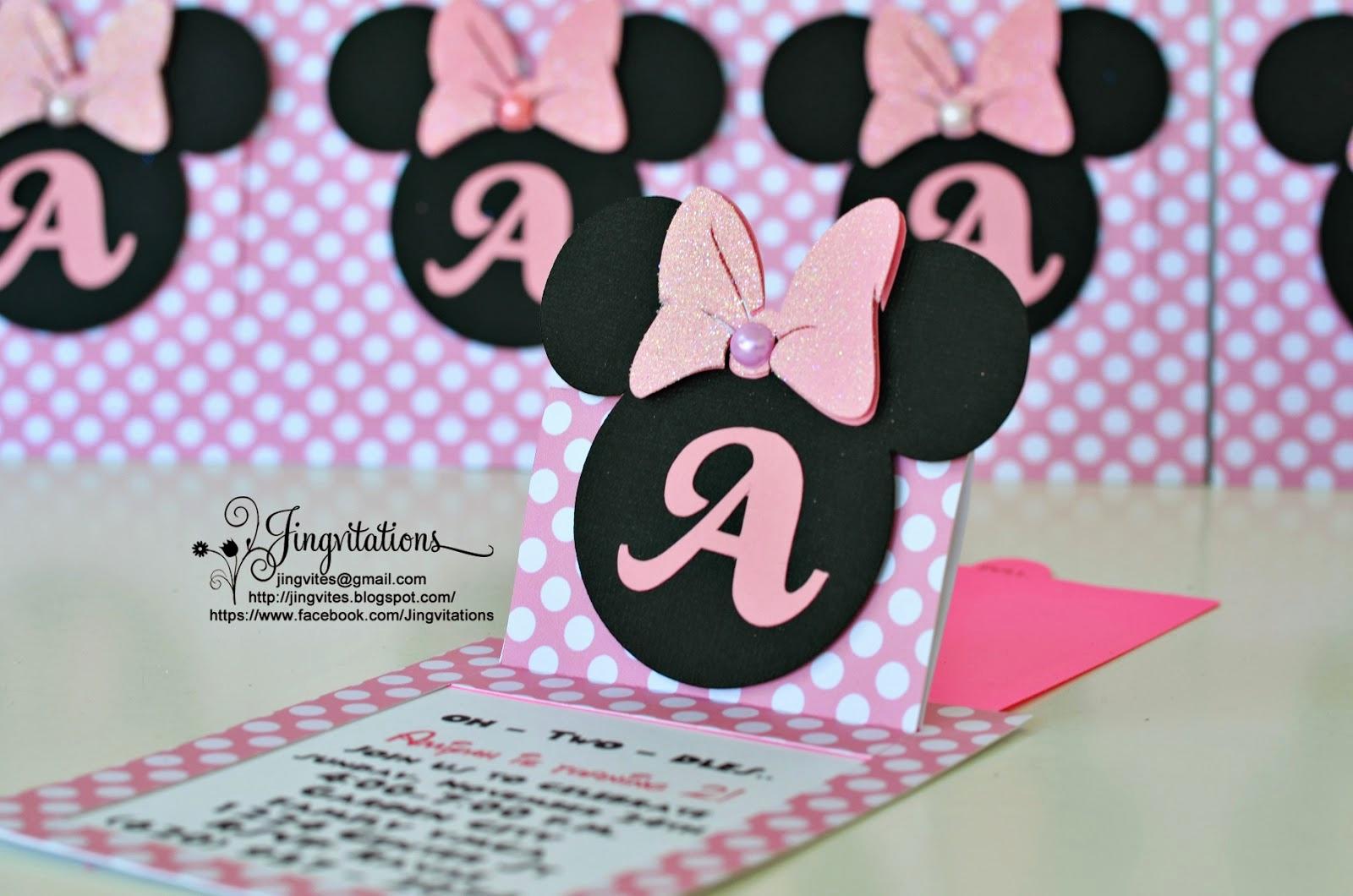 Diy Minnie Mouse Invitation Unique Jingvitations Cricut Handmade Minnie Mouse Pop Up Invitations