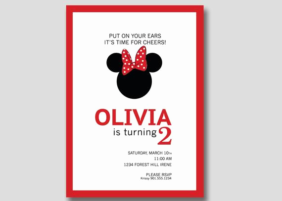 Diy Minnie Mouse Invitation Unique Minnie Mouse Birthday Invitation Custom Diy by Trendyhenry