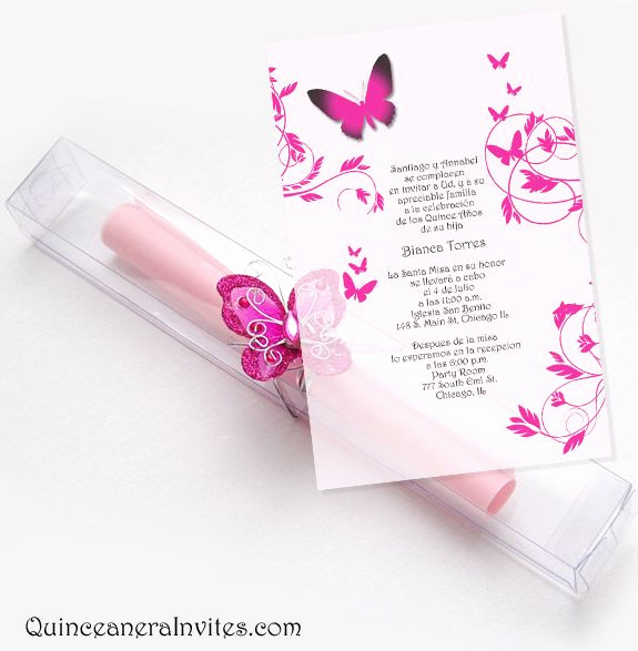 Diy Scroll Invitation Kit Awesome Quinceanera Scroll Invitations Kit butterflies & Box