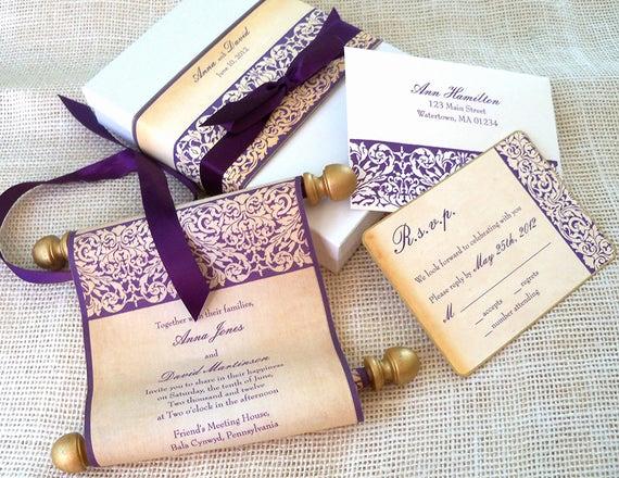 Diy Scroll Invitation Kit Lovely Elegant Wedding Invitation Suite Fabric Scroll by