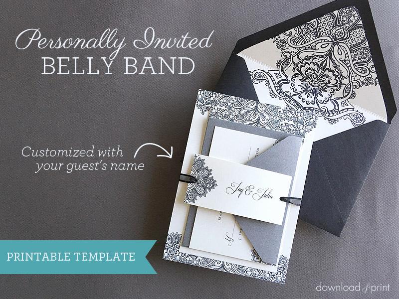 Diy Wedding Invitation Belly Band Beautiful Diy Wedding Invitation Belly Band with Guest Names