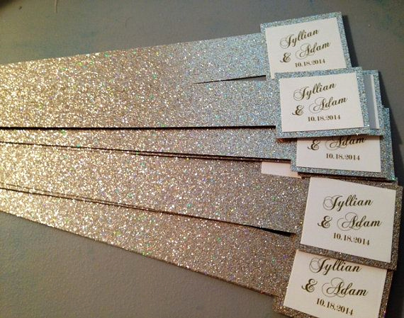 Diy Wedding Invitation Belly Band New Glitter Belly Bands for Wedding Invitations with Name Tag