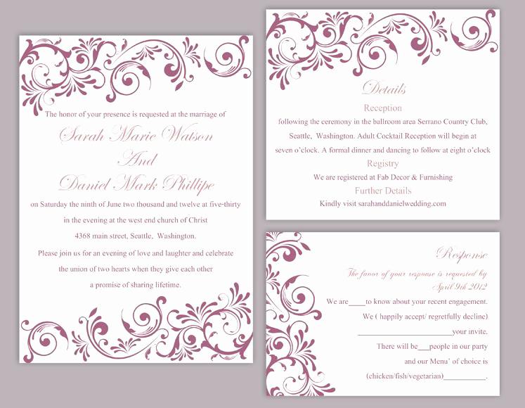 Diy Wedding Invitation Templates Awesome Diy Wedding Invitation Template Set Editable Word File