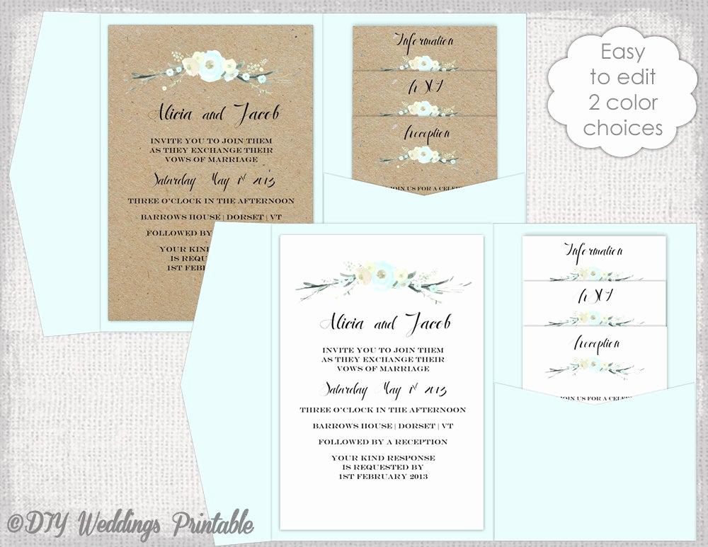 Diy Wedding Invitation Templates Awesome Pocket Wedding Invitation Template Diy Pocketfold Wedding