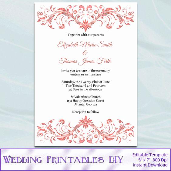 Diy Wedding Invitation Templates Elegant Coral Wedding Invitation Template Diy Printable Bridal