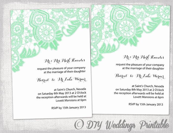 Diy Wedding Invitation Templates Elegant Diy Wedding Invitation Template Editable Mint Green