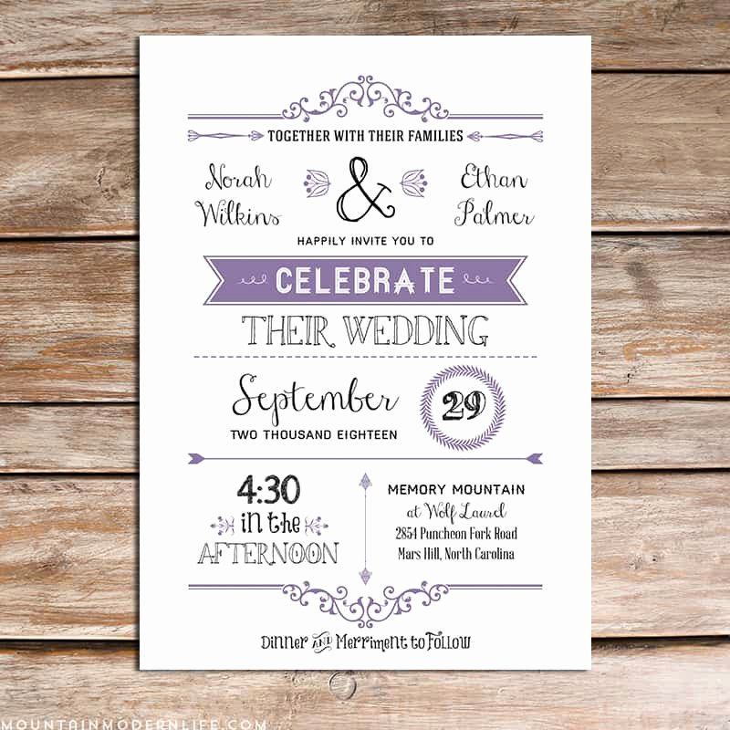 Diy Wedding Invitation Templates Fresh Printable Lavender Diy Wedding Invitation Set