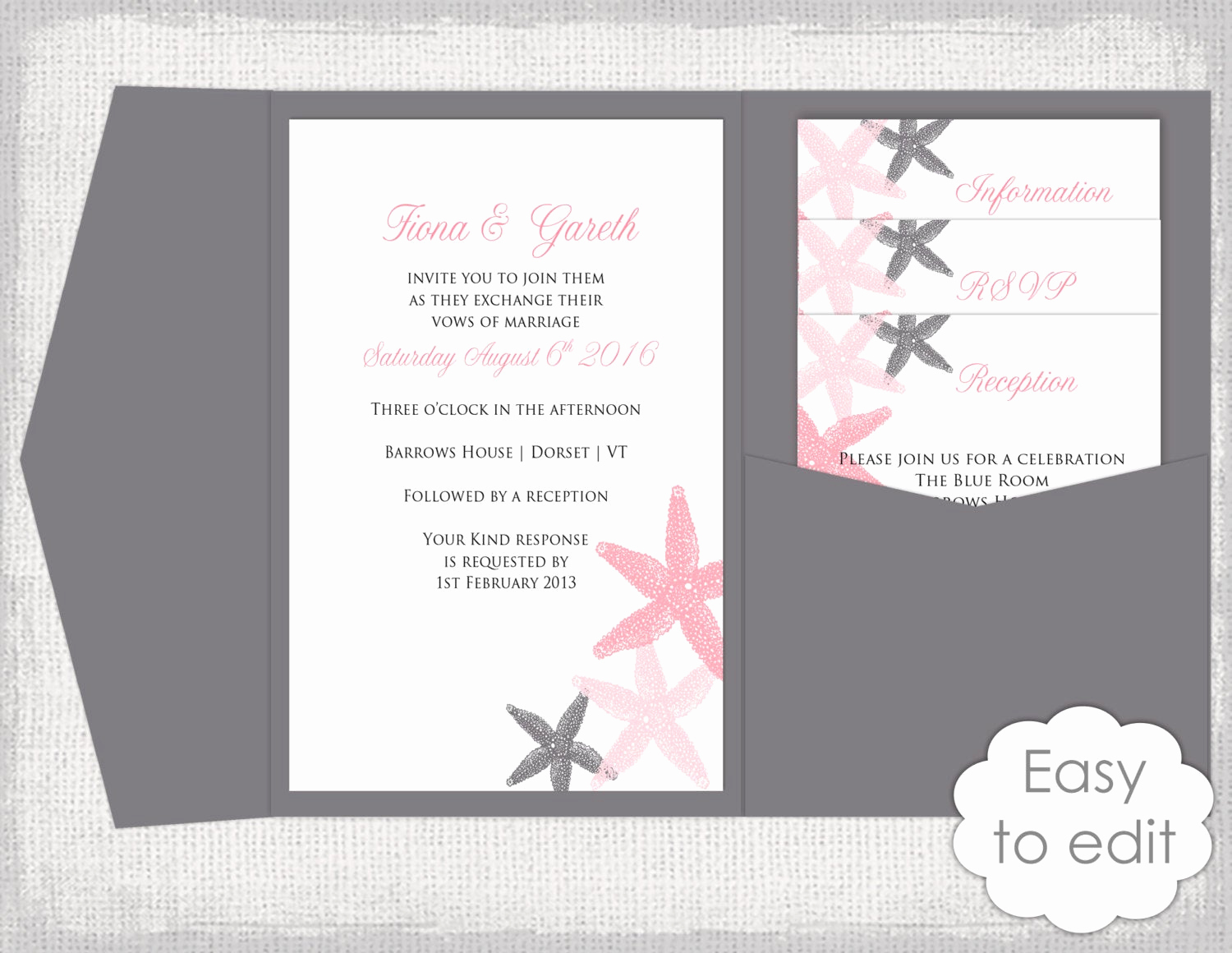 Diy Wedding Invitation Templates Inspirational Pocket Wedding Invitation Template Diy Beach Salmon and