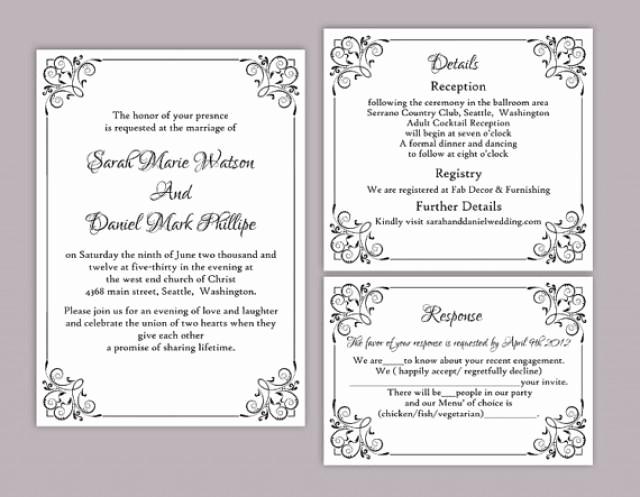 Diy Wedding Invitation Templates Lovely Diy Wedding Invitation Template Set Editable Word File