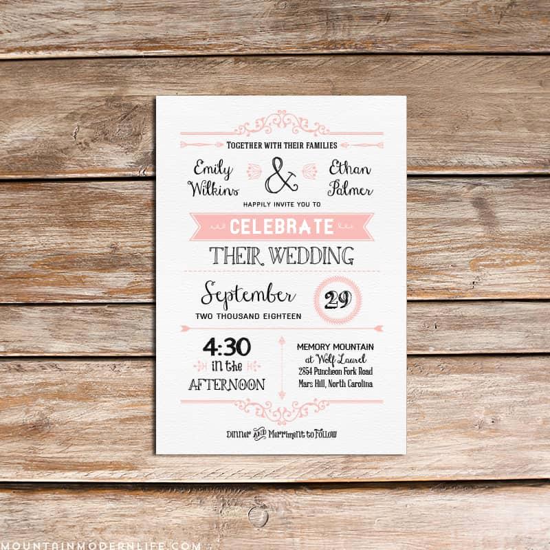 Diy Wedding Invitation Templates Luxury Vintage Rustic Diy Wedding Invitation Template