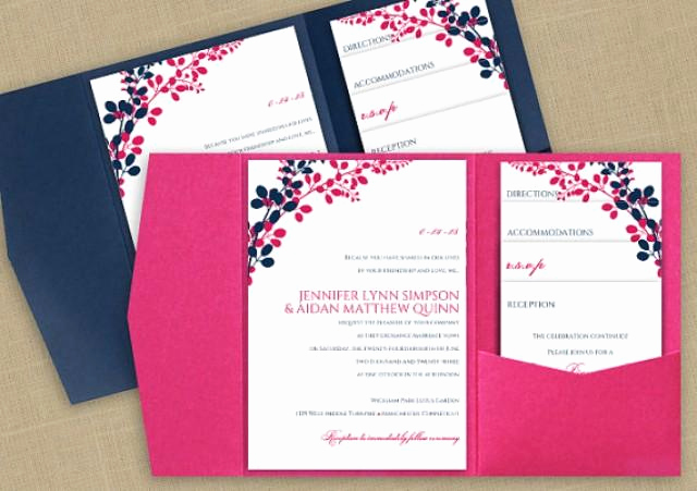 diy pocket wedding invitation template set instant editable text exquisite vines navy hot pink microsoft word format