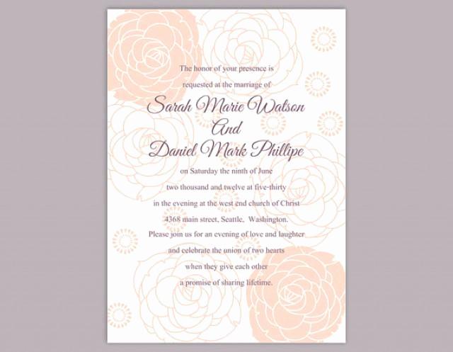 Diy Wedding Invitation Templates Unique Diy Wedding Invitation Template Editable Word File Instant