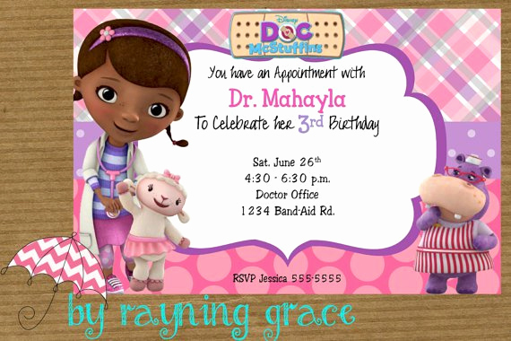 Doc Mcstuffin Invitation Template Awesome Doc Mcstuffins Party Invitations