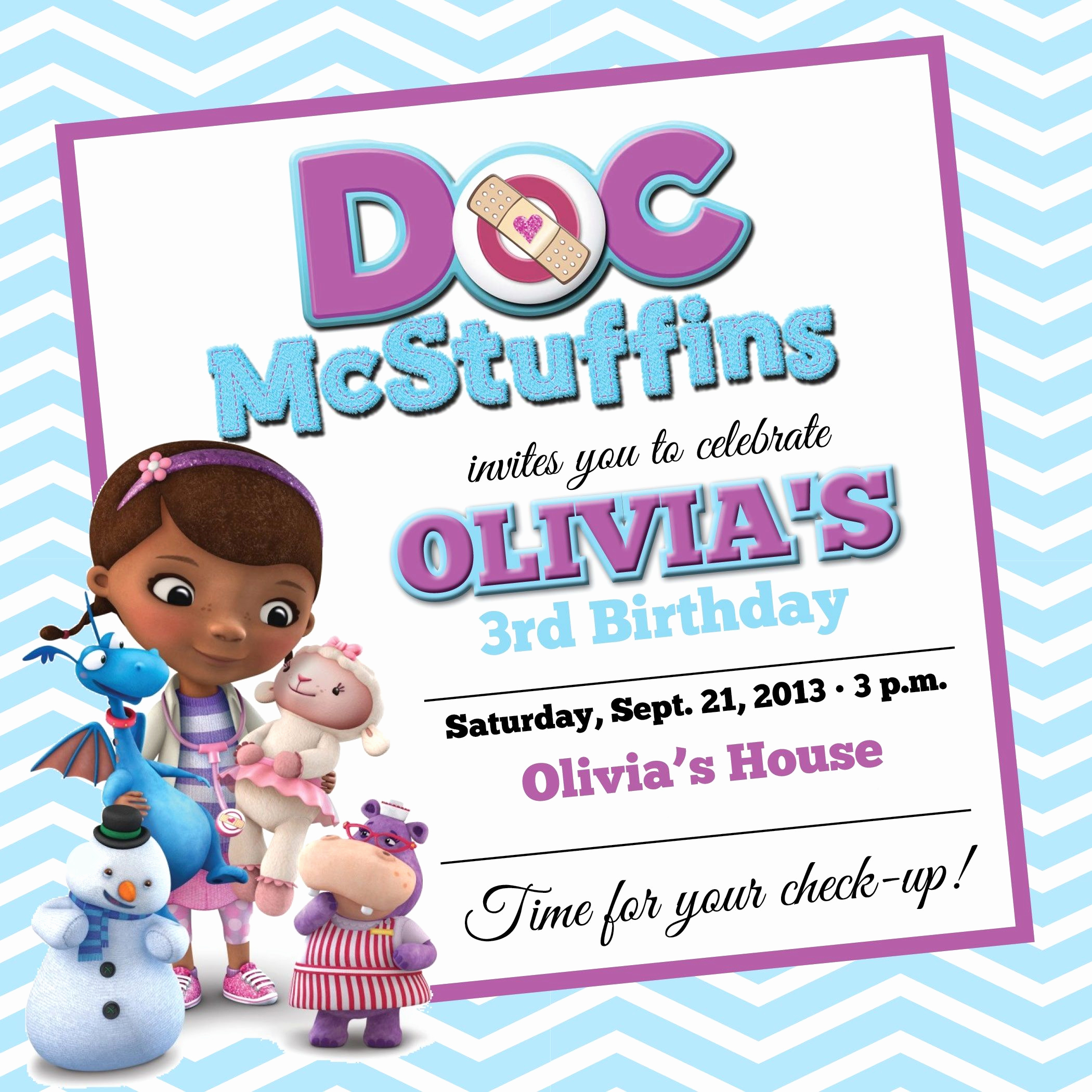 Doc Mcstuffin Invitation Template Awesome Free Doc Mcstuffins Birthday Party Invitations