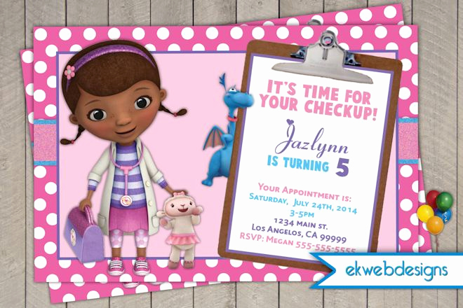 Doc Mcstuffin Invitation Template Beautiful Doc Mcstuffins Birthday Invitations Doctor Mcstuffins