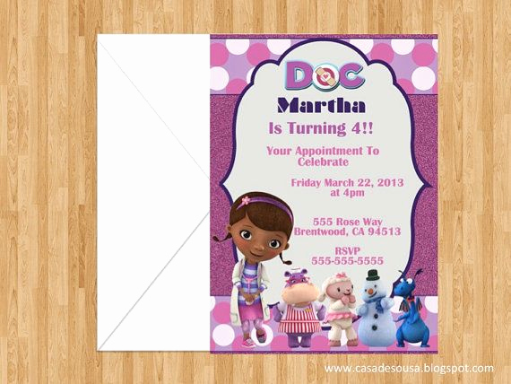 Doc Mcstuffin Invitation Template Best Of Doc Mcstuffins Party Invitations