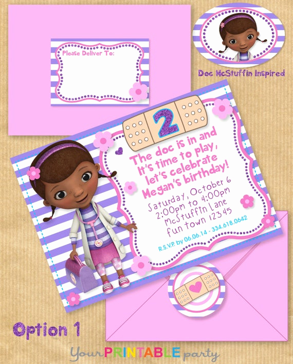 Doc Mcstuffin Invitation Template Best Of Items Similar to Doc Mcstuffins Inspired Party Invitation