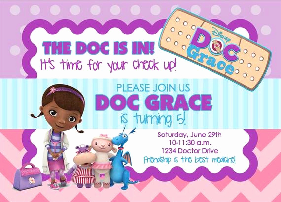 Doc Mcstuffin Invitation Template Lovely Doc Mcstuffins Birthday Party Invitation