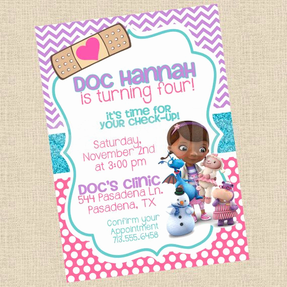 Doc Mcstuffin Invitation Template Lovely Printable Diy Doc Mcstuffins Inspired by Partiesinbloom On
