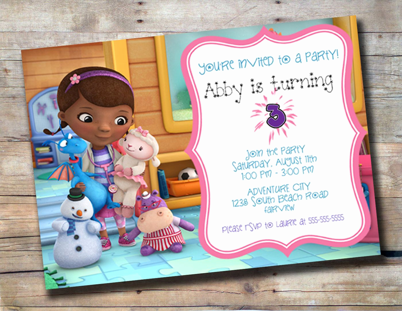 Doc Mcstuffin Invitation Template Unique Cute Doc Mcstuffins Customized Birthday Invitation $10 00