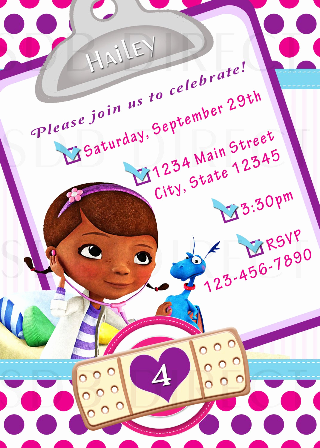 Doc Mcstuffin Invitation Template Unique Doc Mcstuffins Birthday Party Invitations