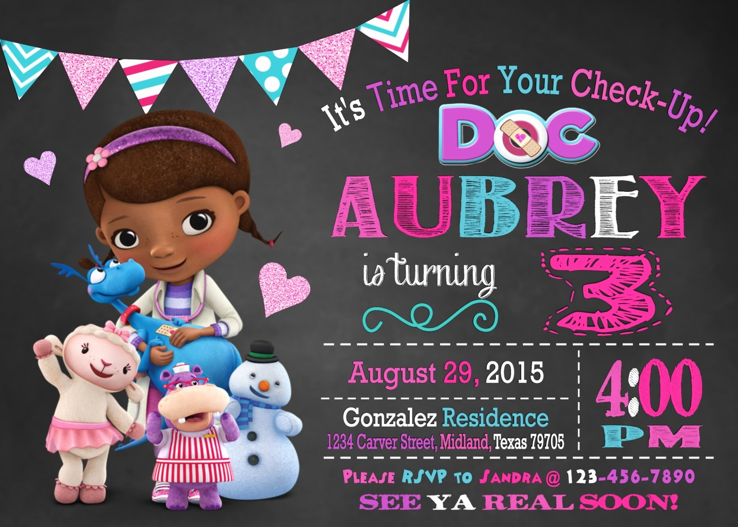 Doc Mcstuffin Invitation Template Unique Dr Mcstuffins Birthday Invitations Cobypic