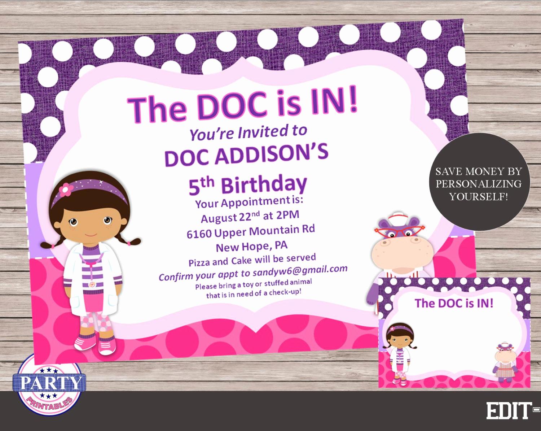 Doc Mcstuffins Birthday Invitation Template Beautiful Doc Mcstuffins Editable Birthday Invitation Instant