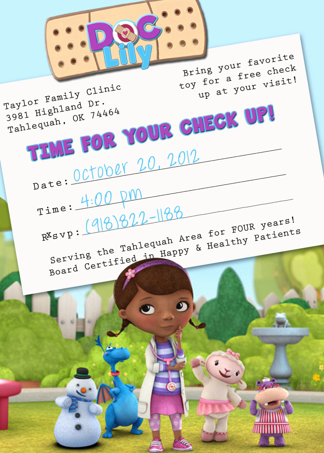 Doc Mcstuffins Birthday Invitation Template Best Of Doc Mcstuffins Appointment Card Birthday Invitation by