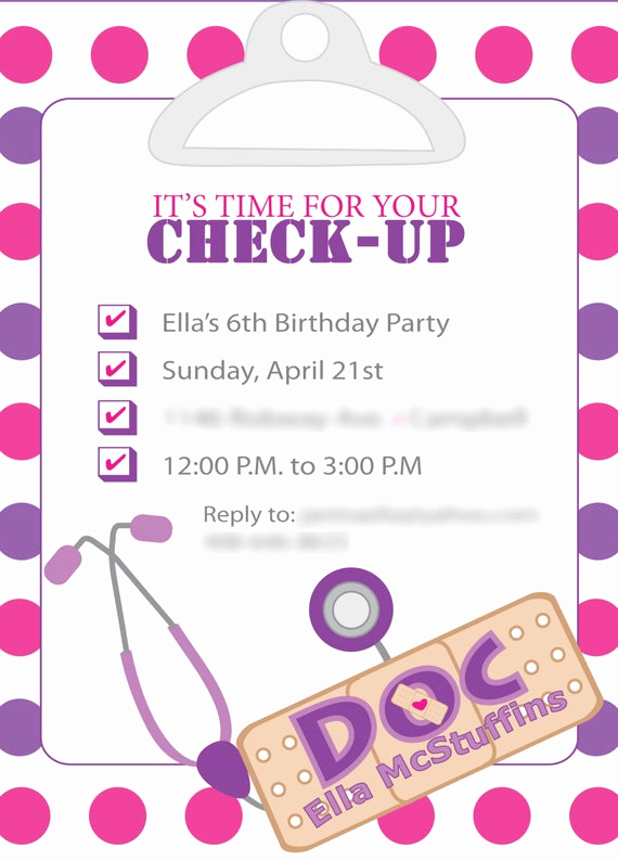Doc Mcstuffins Birthday Invitation Template Best Of Items Similar to Doc Mcstuffins Inspired Birthday Invites