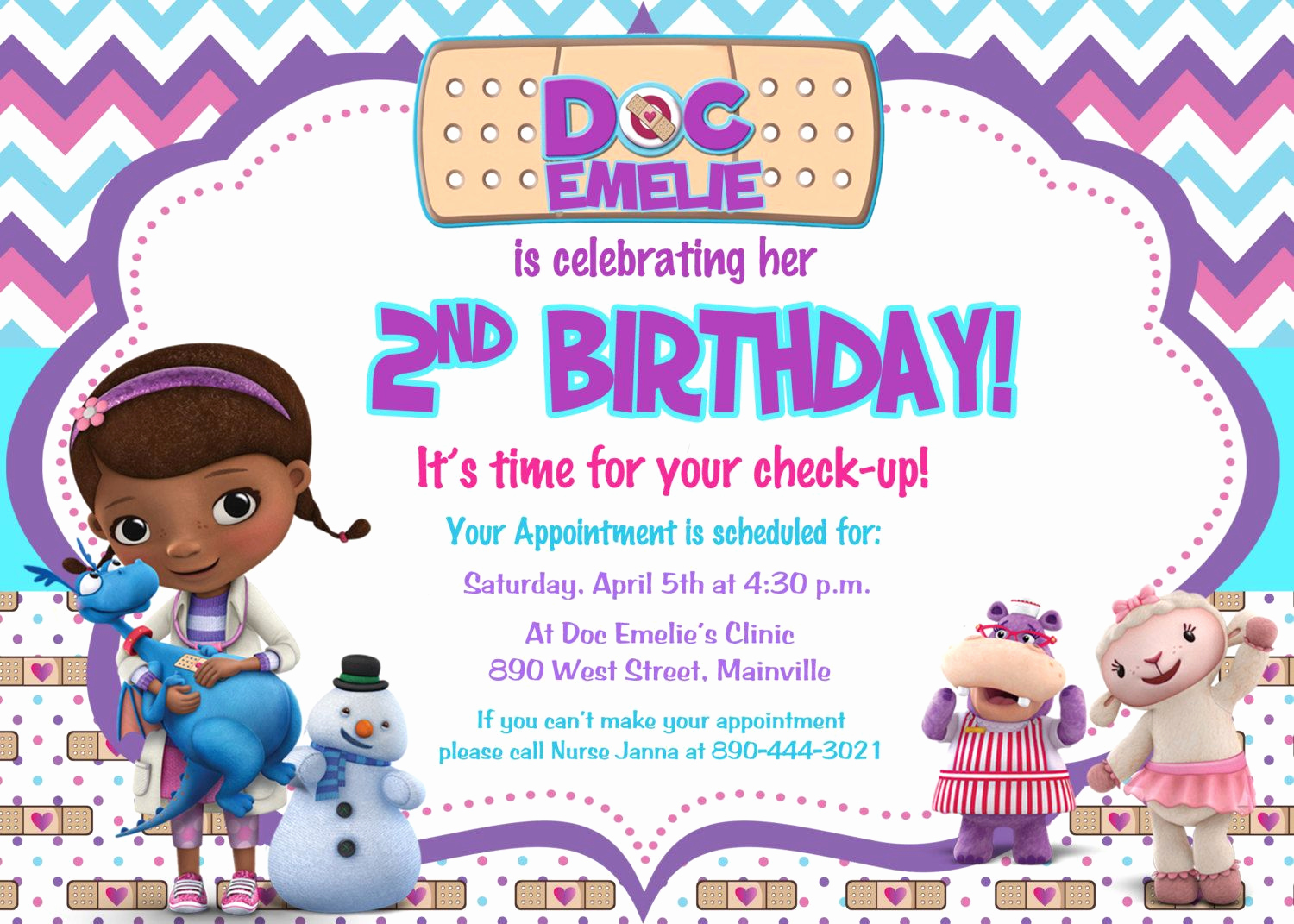Doc Mcstuffins Birthday Invitation Template Elegant Doc Mcstuffins Birthday Party Invitation Digital File by