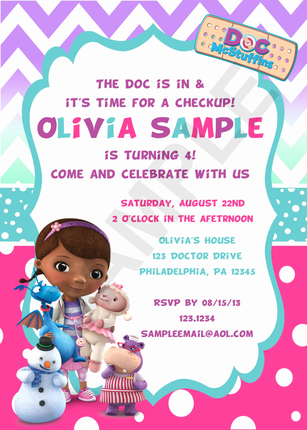 Doc Mcstuffins Birthday Invitation Template Fresh Cutie tootie On Etsy
