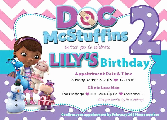 Doc Mcstuffins Birthday Invitation Template Luxury Customized Doc Mcstuffins Birthday Invitation Front and