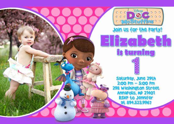 Doc Mcstuffins Birthday Invitation Template New Doc Mcstuffins Birthday Party Invitation by