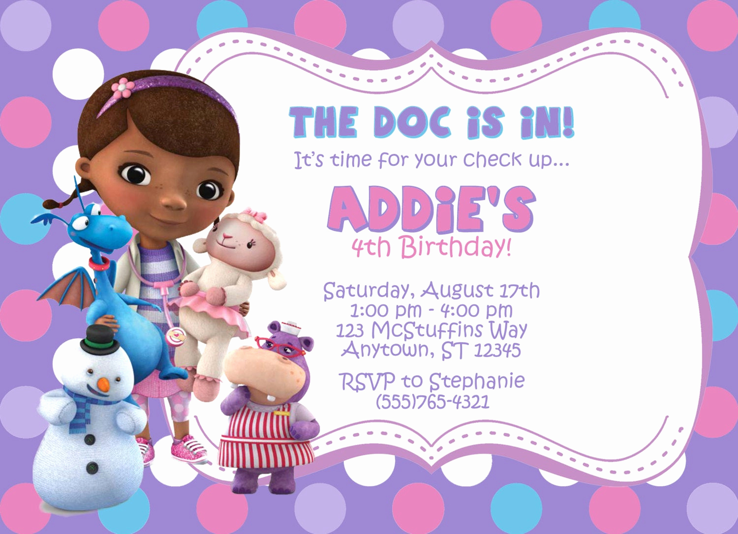 Doc Mcstuffins Birthday Invitation Template Unique Doc Mcstuffins Invitation by Partypassiondesign On Etsy