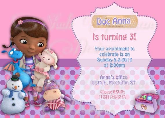 Doc Mcstuffins Birthday Invitation Template Unique Doc Mcstuffins Invitations Diy Printable