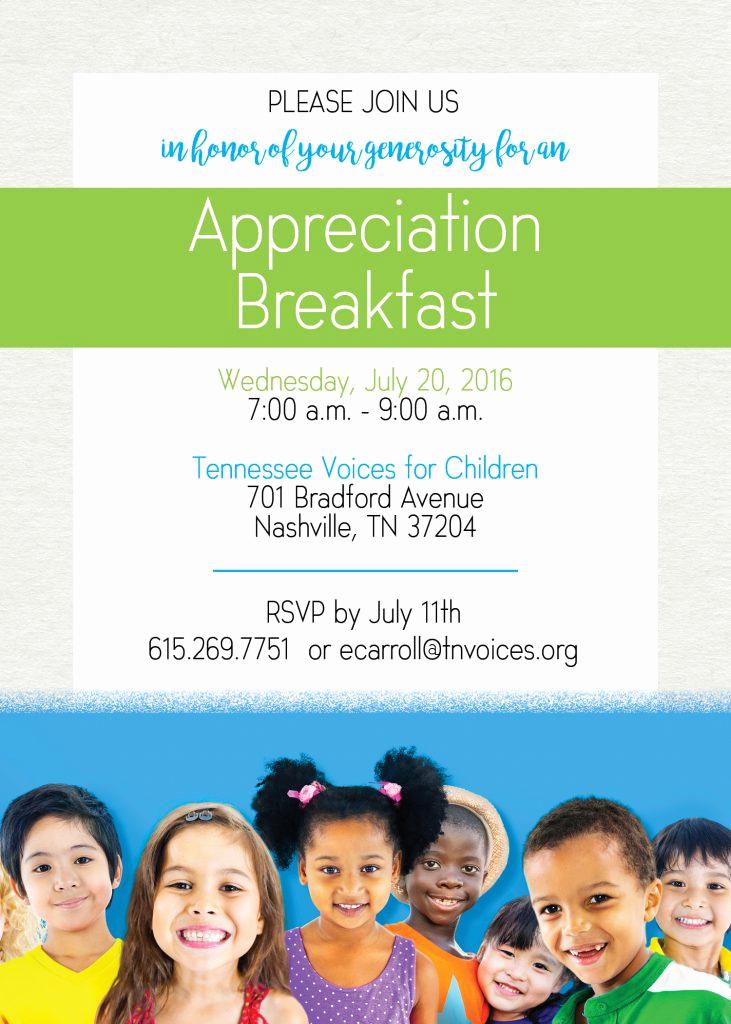 Donor Appreciation event Invitation Awesome Appreciation Breakfast